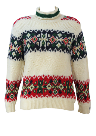 Cream Roll Neck Wool Jumper with Red, Green & Navy Nordic Style Pattern - S/M