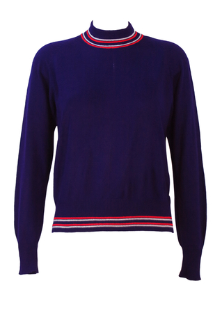 Vintage 60's Navy Blue, Mod Style Jumper with Red & White Striped Collar & Waistband- M
