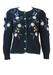 Tyrolean Navy Blue Wool Cardigan with White, Blue & Green Embroidered Floral Pattern & Puff Sleeves - M/L
