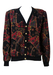 Black Cardigan with Equestrian & Tartan Pattern in Red, Green, Purple and Gold - L