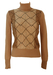 Vintage 70's Camel, Beige & Brown Roll Neck Jumper with Diamond Shaped Graphic Pattern - XS/S