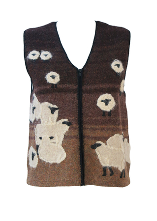 Brown Shetland Wool Casual Fit Sleeveless Cardigan with Hand Embroidered Sheep Pattern - S