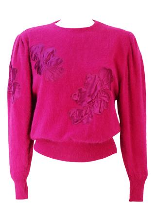 Fuchsia Pink Jumper with Pink Satin Floral Applique & Ruched Shoulder Detail - S/M