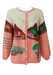 Peach & Cream Chunky Knit Cardigan with Child-Like Knitted Landscape Pattern - M/L