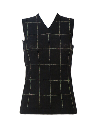 Black Tank Top with Metallic Gold Grid Pattern - S