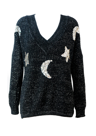 Sparkly Silver & Black Jumper with Silver Sequinned Moons & Stars & Giant Sequin Penguin on the Back! M/L