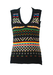 Black Tank Top with Multicoloured Striped Pattern in Red, Yellow, Blue, Green & Pink - S/M