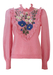 Soft Pink Jumper with Blue, Green, White & Pink Floral Embroidery & Frill Detail - S/M