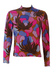 Vintage 60's Luisa Spagnoli Jumper with Psychedelic Pink, Lilac & Brown Abstract Floral Pattern - XS/S