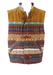 Gilet with Brown, Blue & Ochre Ethnic Striped Pattern - XL
