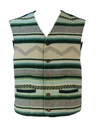 Woollen Gilet / Waistcoat with Green, Blue, Cream & Grey Striped Ethnic Pattern - M/L