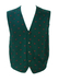 Green Knitted Waistcoat with Red & Ochre Paisley Motif Pattern - M