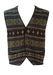 Charcoal Grey Knit Waistcoat with Brown, Green & Russet Ethnic Style Pattern - L