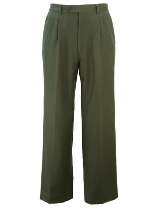 """Fern Green, Pure Virgin Wool, Pleat Front Trousers - W33"""""""