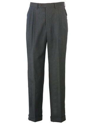 Pure Wool Charcoal Grey Pleat Front Trousers with Turn Ups - W31""
