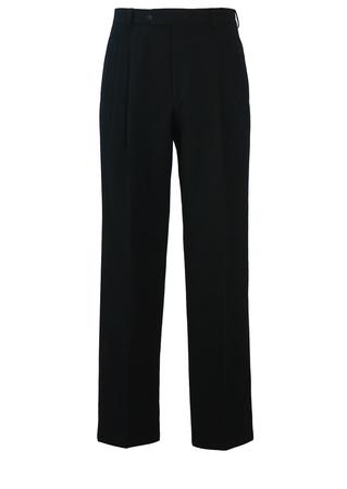 """Black Pleat Front Wool Trousers - W30"""""""
