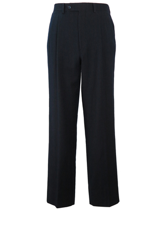 Navy Blue & Grey Fine Pinstripe, Pleat Front Wool Trousers - W32""