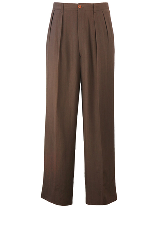 """Light Brown Pleated Trousers - W33"""""""