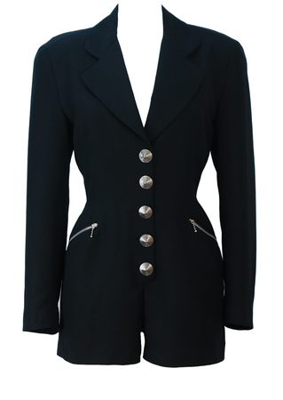 Black Tailored Playsuit with Silver Conical Buttons - S/M