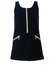 Iceberg Navy Wool & Cashmere Mini Shift Dress with Sparkly Metallic Silver Zip - XS/S