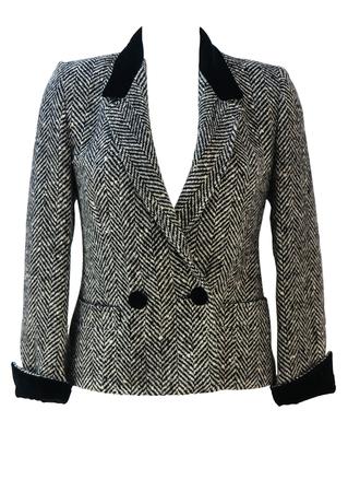 Black & White Herringbone Tweed Fitted Jacket with Black Velvet Collar & Cuffs - S