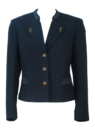 Navy Blue Tyrolean Fitted Jacket with Light Blue Decorative Stitch Pattern - S