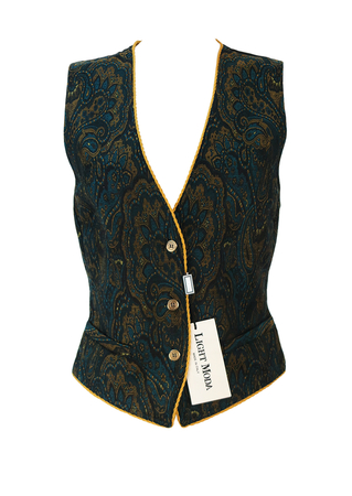 Teal, Ochre & Black Paisley Patterned Vintage Waistcoat with Ochre Braiding - New - S/M