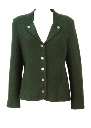 Tyrolean Pure Wool Woodland Green Knit Jacket with Coin Buttons - L