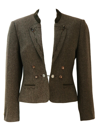 Brown Tyrolean Pure Wool Jacket with Coin Button Detail - S/M
