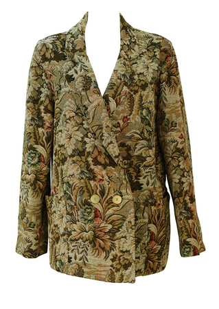 Vintage 90's Double Breasted Oversize Jacket with Brown & Cream Floral Tapestry Pattern - M/L