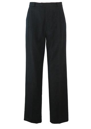 "Ermenegildo Zegna Pure Virgin Wool Charcoal Grey Straight Leg Trousers - W33"""