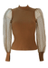 Ribbed Camel Top with Sheer Polka Dot Puff Sleeves - XS/S