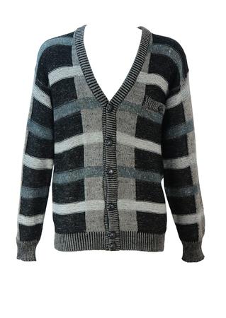 Part Alpaca Cardigan with Grey, Black & White Intersecting Stripes - M/L