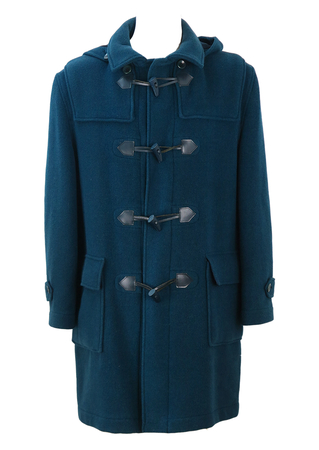 Teal Blue Wool & Cashmere Duffle Coat with Detachable Hood - L/XL