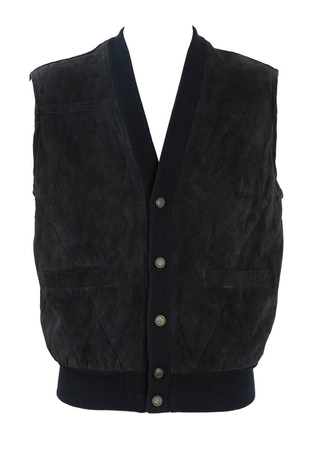 Blue Suede Quilted Gilet with Knit Trim - L/XL