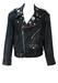 Black Leather Biker Jacket with Multi Badge Detail - L