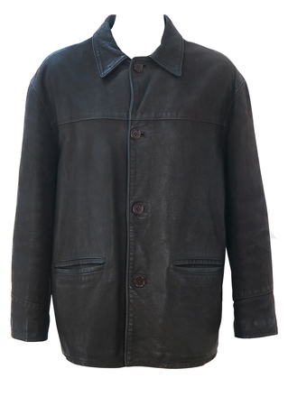 Vintage 90's Dark Brown Waxed Leather Box Jacket - Oversize L / Casual Fit XL