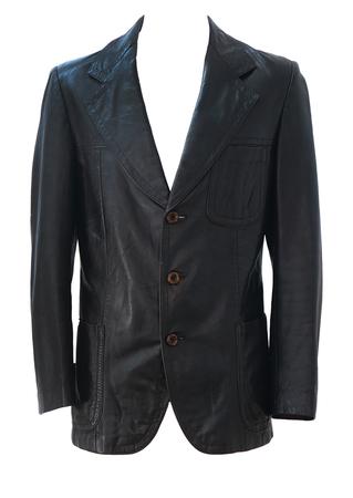 Vintage 70's Dark Brown Fitted Leather Jacket - S/M