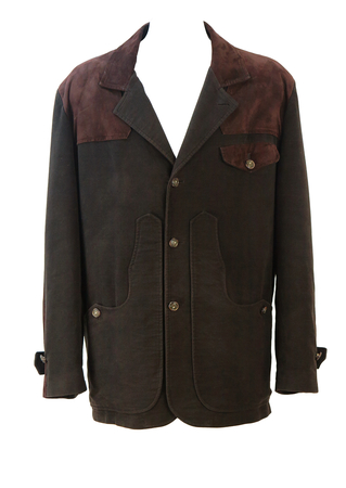 Two Tone Brown Brushed Cotton & Suede Hunting Style Jacket - XL