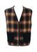 Check Gilet Waistcoat in Camel, Burgundy and Navy - XXL