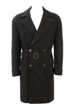 Double Breasted Tweed Belted Trench Coat with Ochre, Red, Black & Grey Mottled Colourway - L/XL
