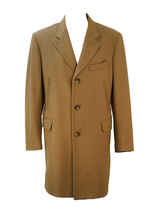 Fay Camel Coloured Herringbone Tweed Crombie Style Coat - M/L