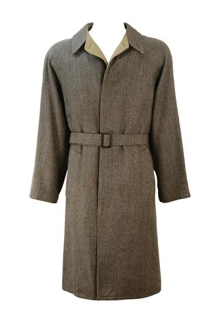 Brown & Cream Herringbone Trench Coat with Reversible Camel Coloured Mac - M/L