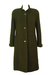 Olive Green Textured Wool Coat with Feature Buttons - M