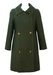 Vintage 60's Two Tone Green Double Breasted Coat with Feature Buttons - S