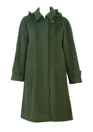 Woodland Green Loden Swing Coat with Detachable Hood - M