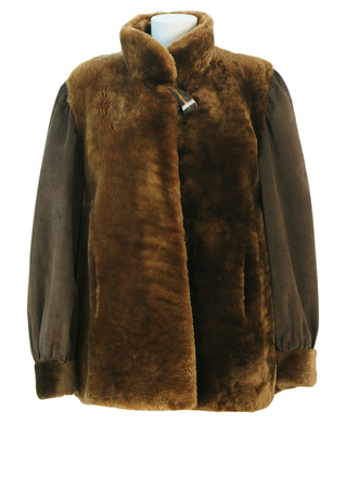 Brown Shearling Jacket with Brown Suede Sleeve Detail & Feature Button - M/L