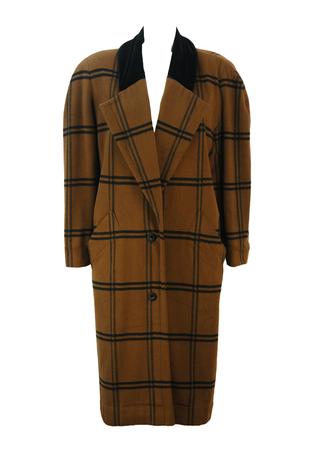 Vintage 90's Byblos Brown and Black Check Oversized Coat with Velvet Collar - M/L