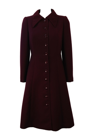 Vintage 70's Purple / Plum Coloured, Full Length Fitted Coat - S