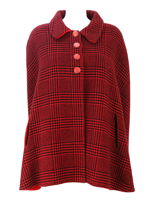 Vintage 60's Red & Black Dogtooth Check Cape - L